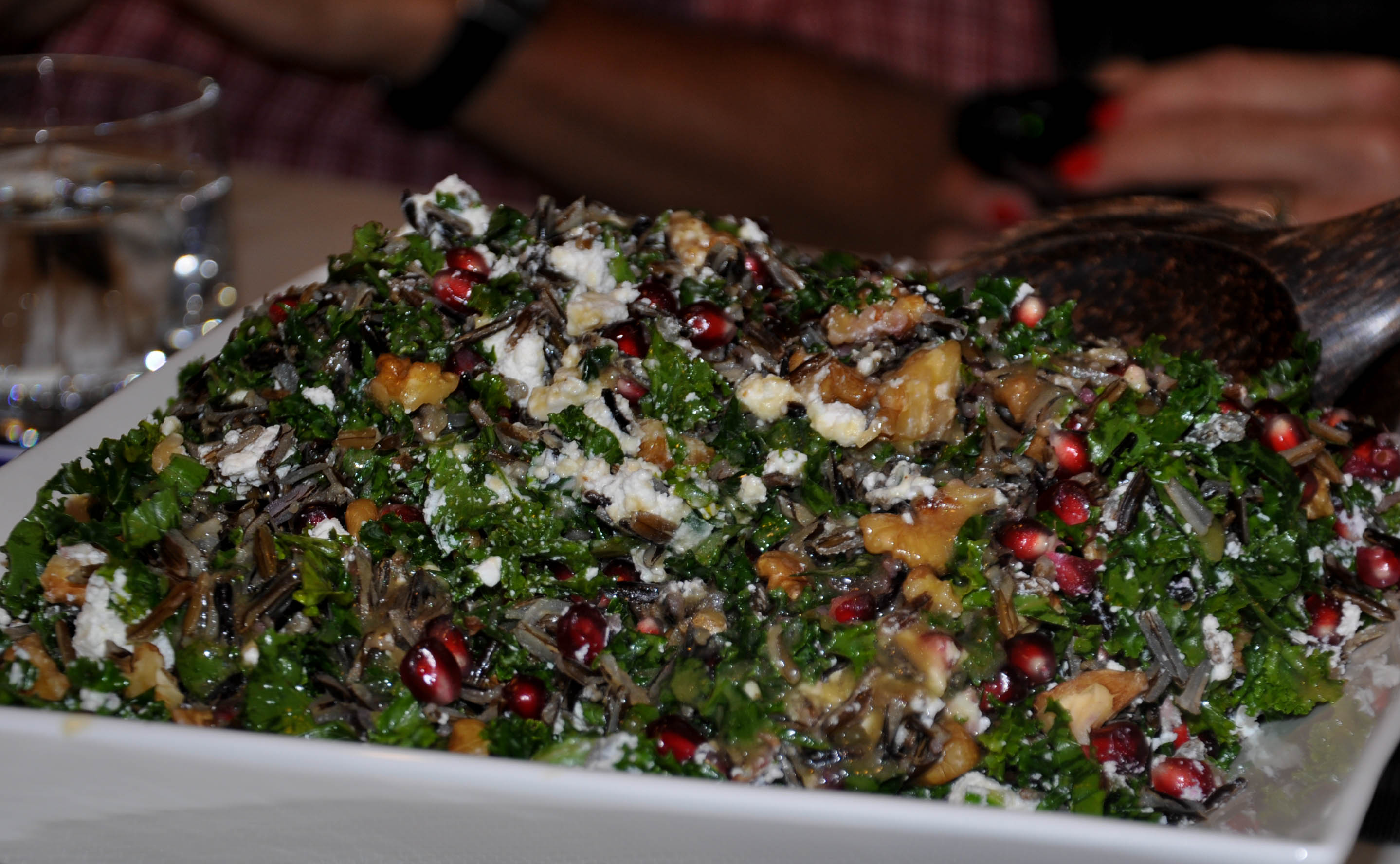 59 – Raw Pomegranate, Kale & Wild Rice Salad with Feta and Walnuts ...