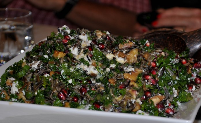 ... Raw Pomegranate Kale and Wild Rice Salad with Feta and Walnuts , Wild